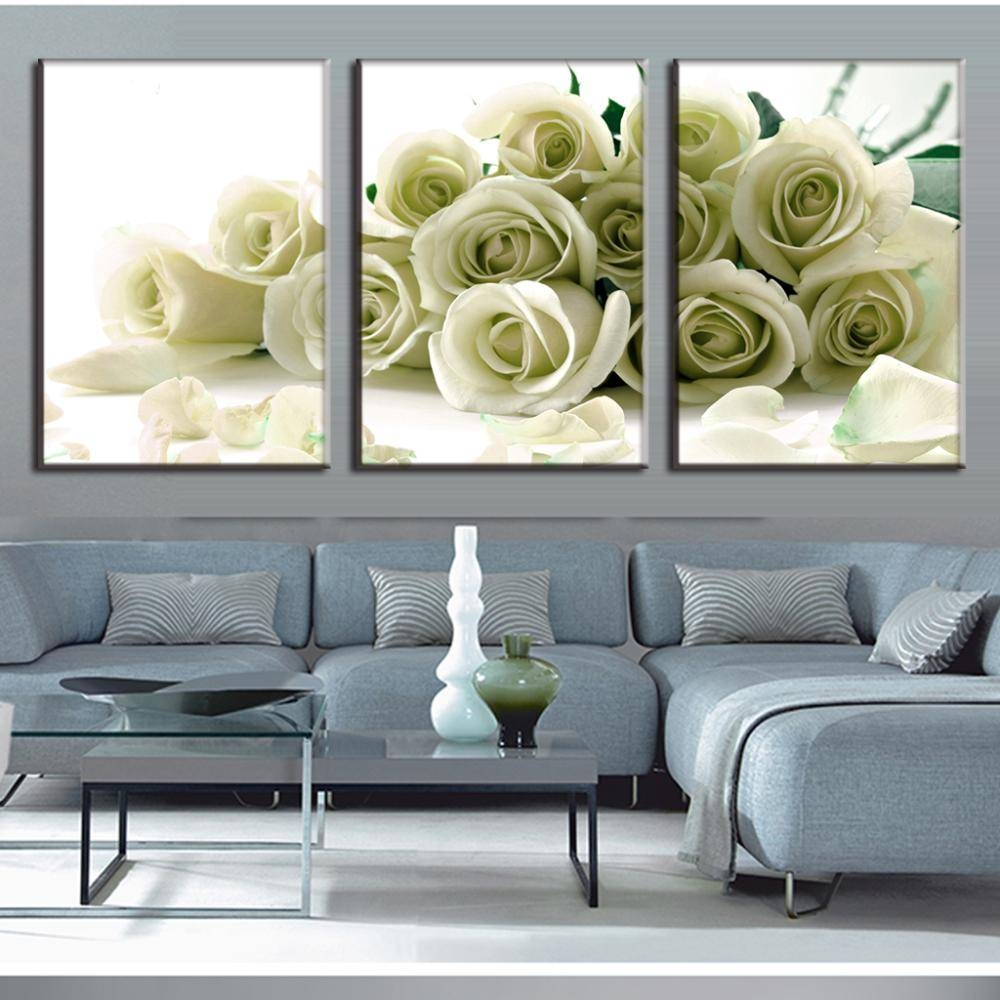 3 Pieces/set Wall Art Canvas Picture Flower Painting White Roses Throughout Current Rose Canvas Wall Art (View 17 of 20)