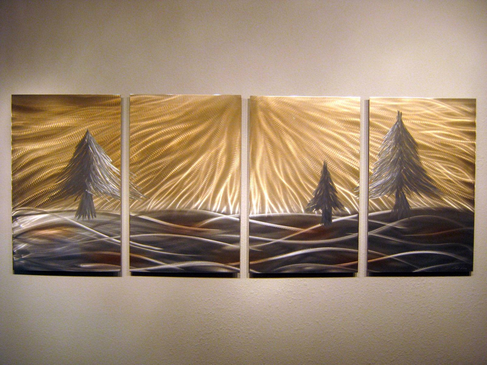 3 Pine Trees – Abstract Metal Wall Art Contemporary Modern Decor In Newest Pine Tree Wall Art (View 20 of 30)