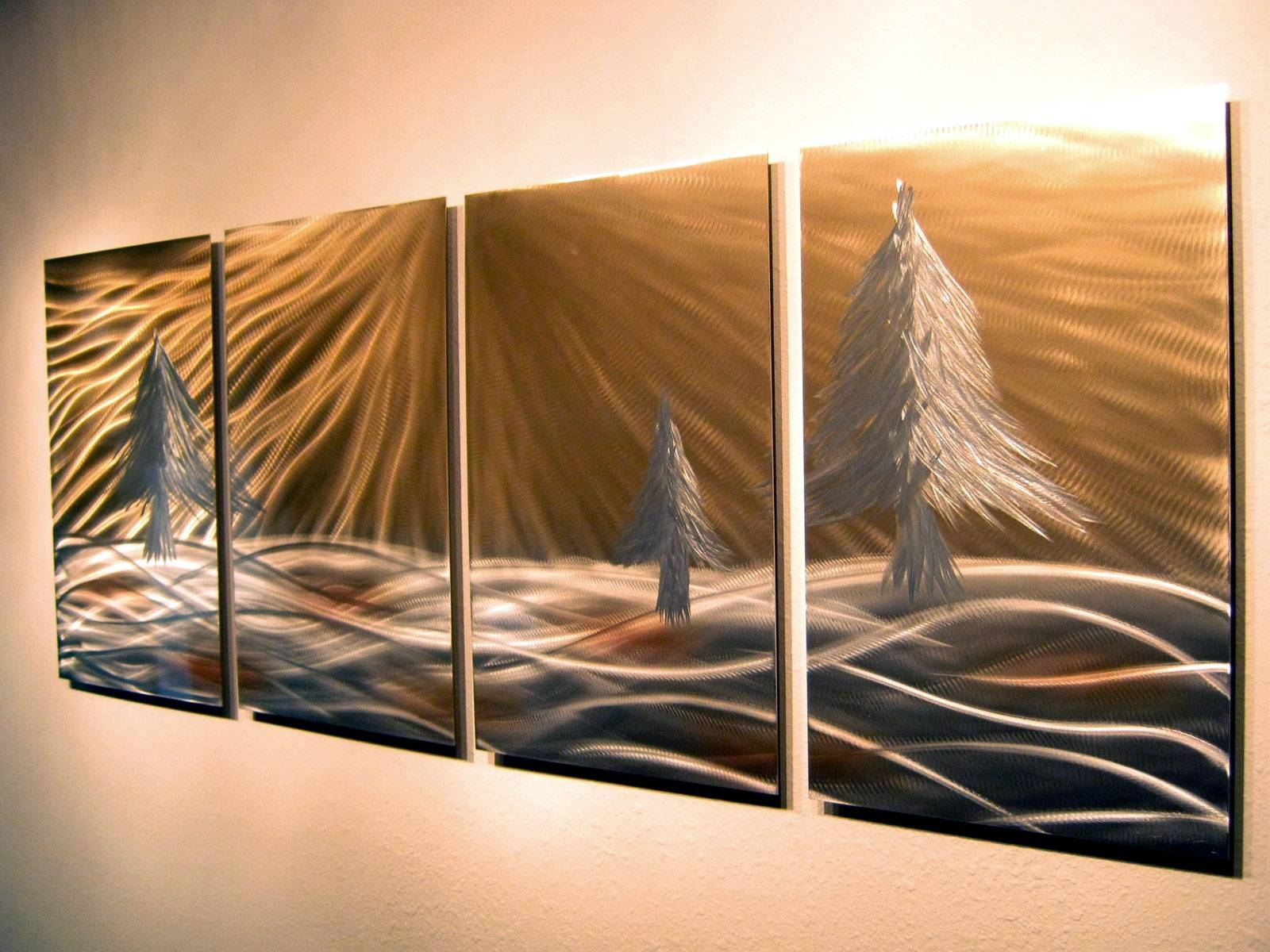 3 Pine Trees – Abstract Metal Wall Art Contemporary Modern Decor Pertaining To Recent Pine Tree Metal Wall Art (View 14 of 25)