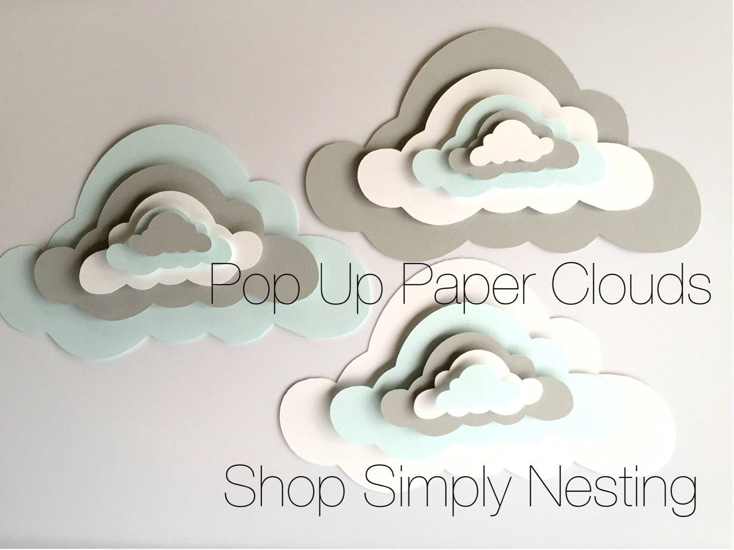3 Pop Up Paper Clouds Cloud Wall Art 3 3D Paper Clouds With Most Current 3D Clouds Out Of Paper Wall Art (View 12 of 25)