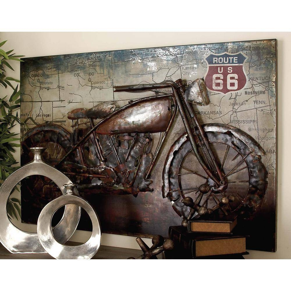 32 In. X 47 In. Vintage 3D Iron Motorcycle And Map Wall Art 38571 Inside Most Recent Vintage 3D Wall Art (Gallery 1 of 20)