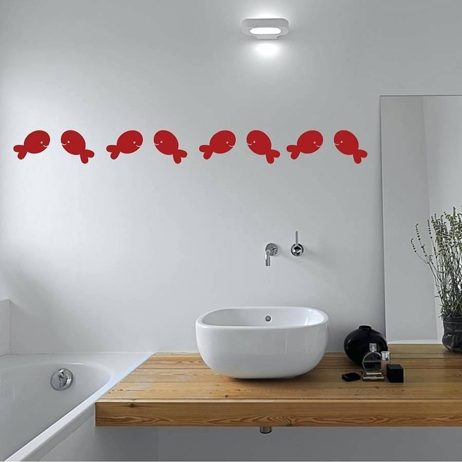 35x Fish Bubble Bathroom Wall Decalswall Decals For Tiles Art In Most Recently Released