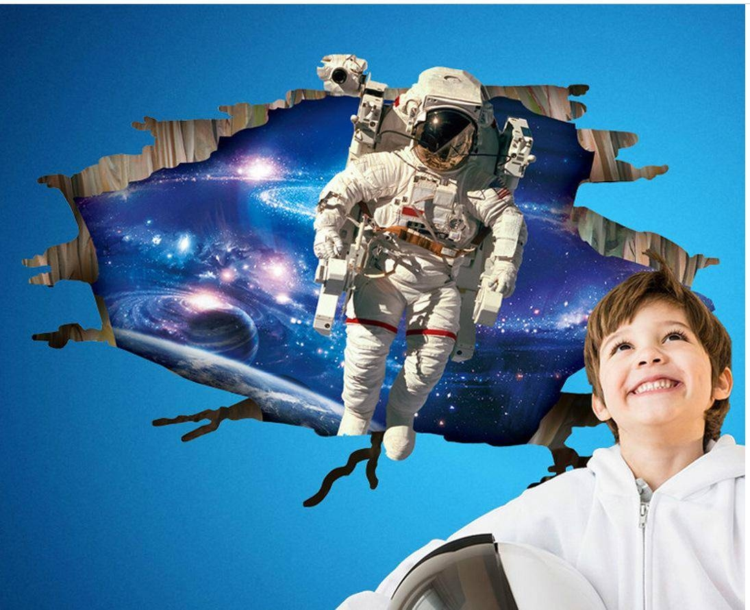3d Astronaut Came Through Outer Space Wall Art Mural Decal Sticker With Most Recently Released Astronaut 3d Wall Art (View 3 of 20)