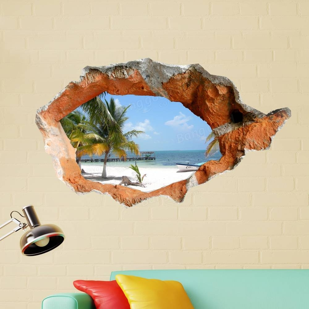 3D Beach Wall Decals 38 Inch Removable Sea Wall Art Stickers Home In Most Recently Released 3D Wall Art (View 2 of 30)