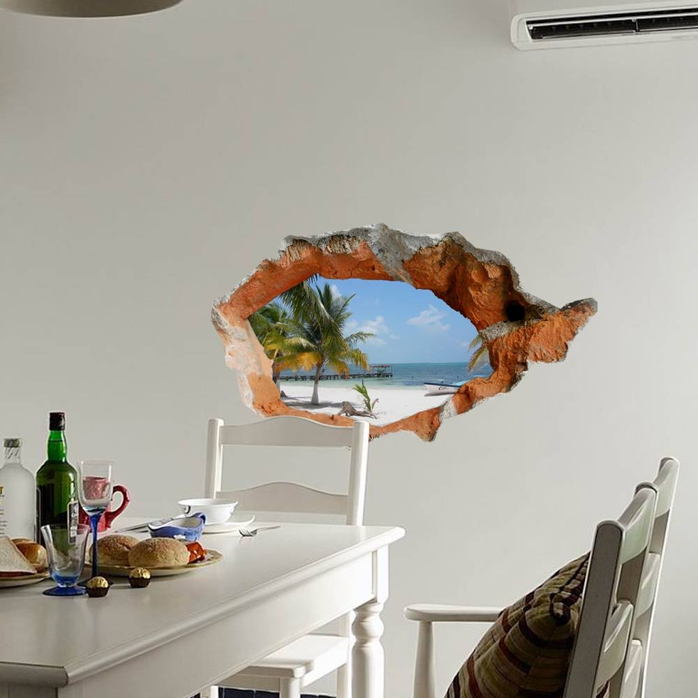 3D Beach Wall Decals 38 Inch Removable Sea Wall Art Stickers Home Regarding Newest Beach 3D Wall Art (View 5 of 20)