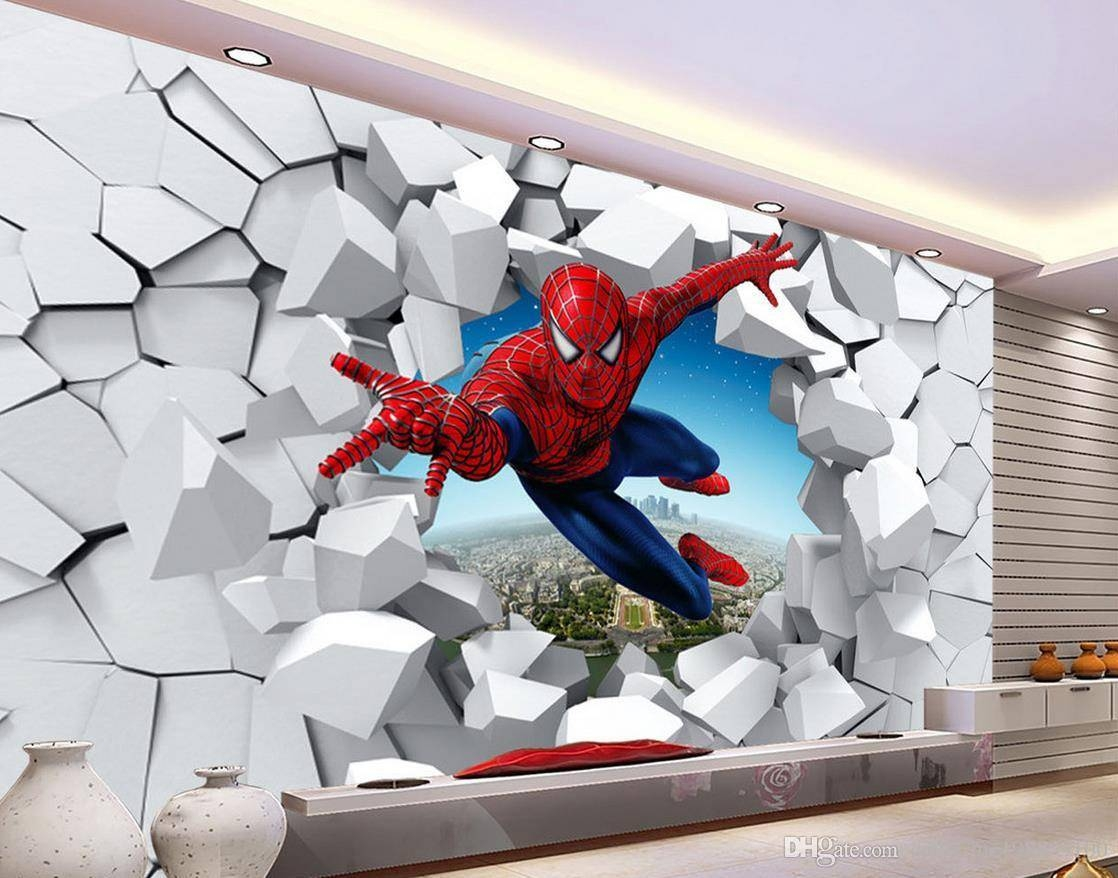 3D Brick Wall Cartoon Decoration Painting Background Wall Mural 3D Pertaining To 2017 3D Wall Art Wallpaper (View 1 of 20)