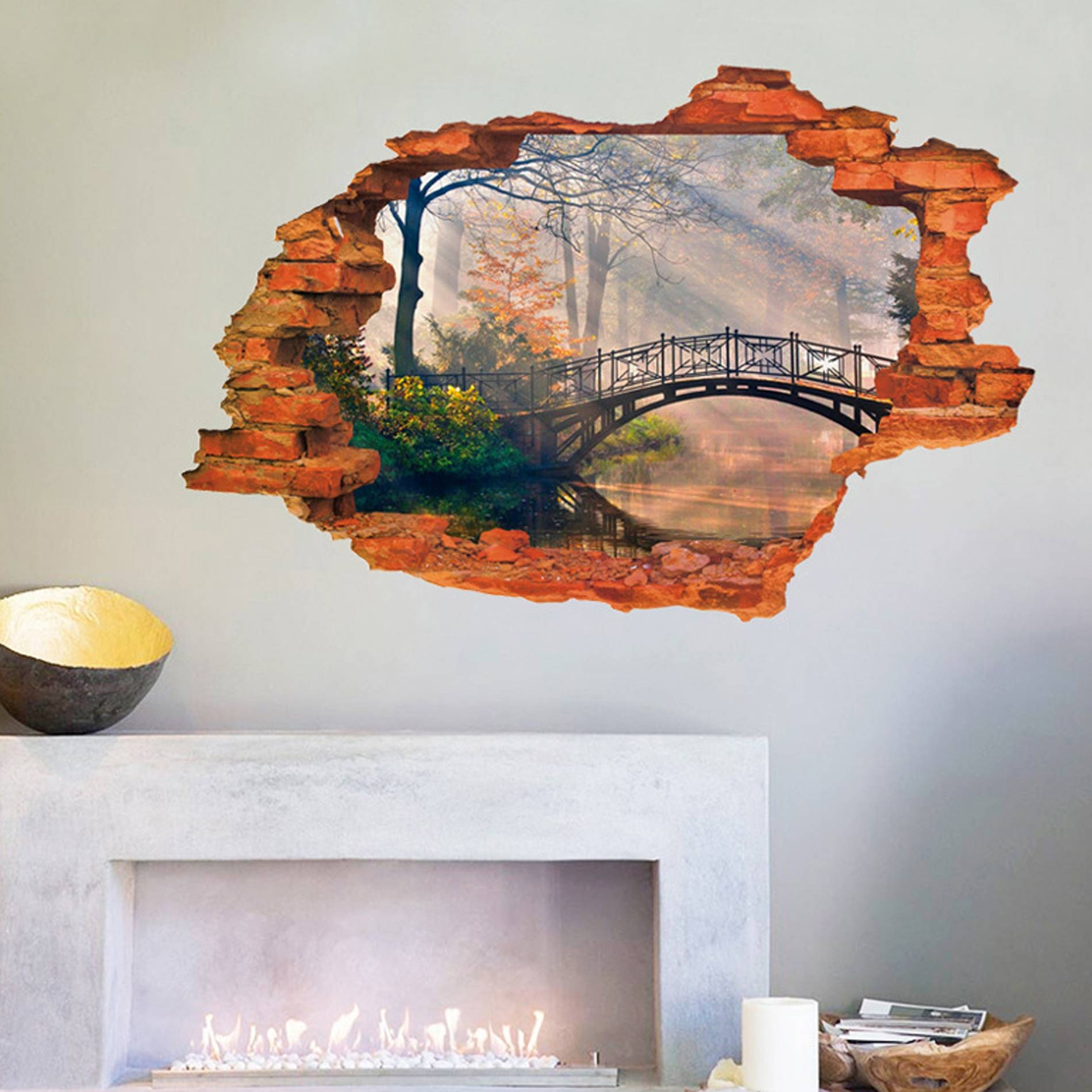 3D Broken Wall Removable Wall Sticker Art Decal Living Room Decor Throughout Latest 3D Wall Art For Living Room (Gallery 19 of 20)