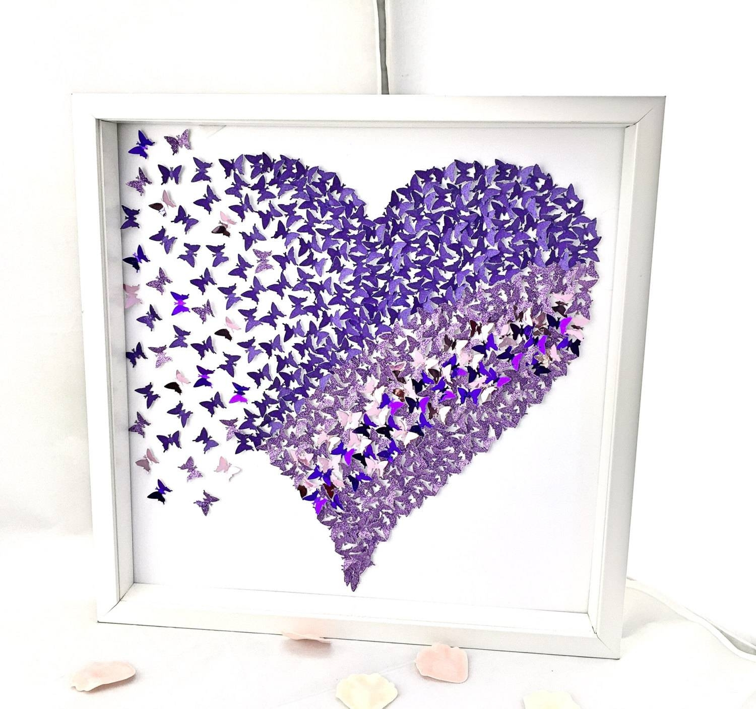 3D Butterflies Heart , 3D Butterfly Wall , Paper Butterflies Heart Throughout 2018 Heart 3D Wall Art (Gallery 10 of 20)