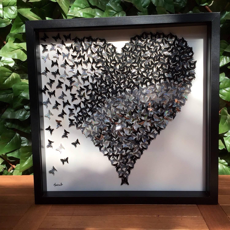 3D Butterflies Heart Wall Art| 3D Paper Art | Black Silver In Most Up To Date Framed 3D Wall Art (View 2 of 20)