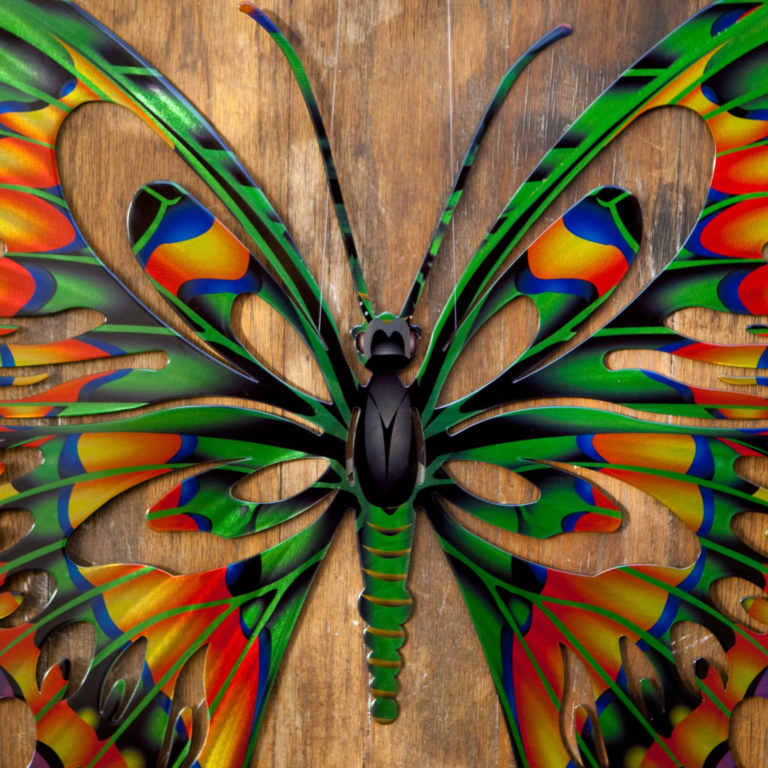 3D Butterfly Metal Outdoor Wall Art | Hayneedle with Current 3D Garden Wall Art