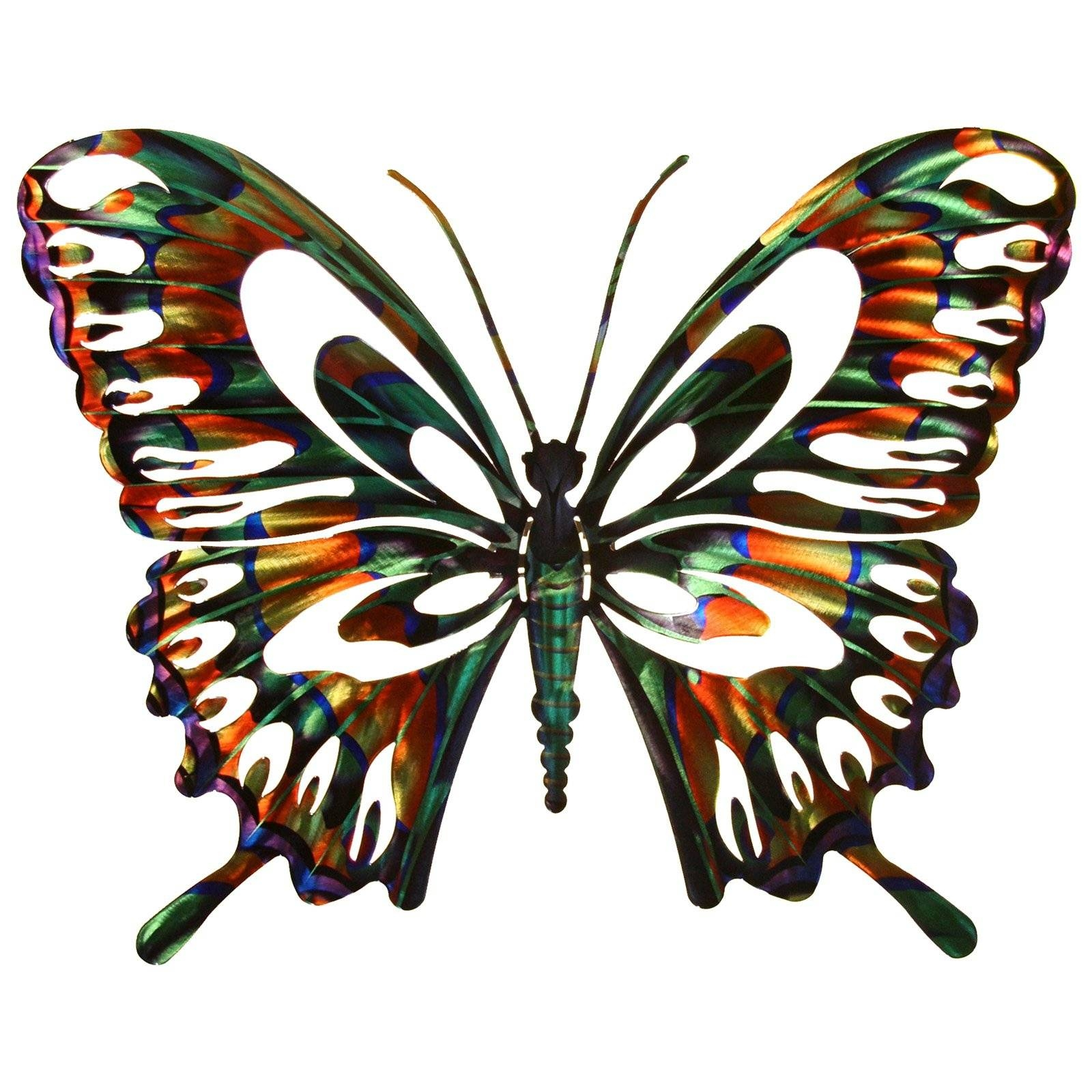 3D Butterfly Metal Outdoor Wall Art | Hayneedle With Most Recently Released Large Metal Butterfly Wall Art (View 1 of 25)