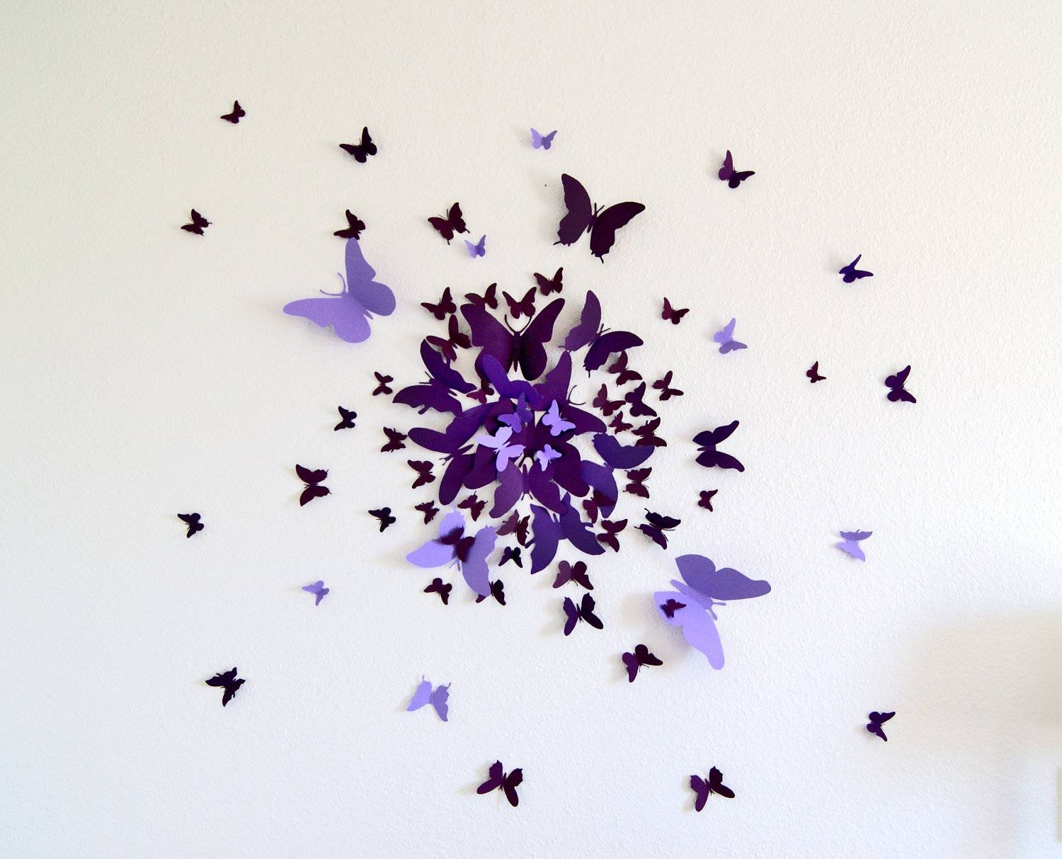 3D Butterfly Wall Art Decal Set Of 70 In Purple Paper For Current 3D Wall Art Etsy (Gallery 3 of 20)