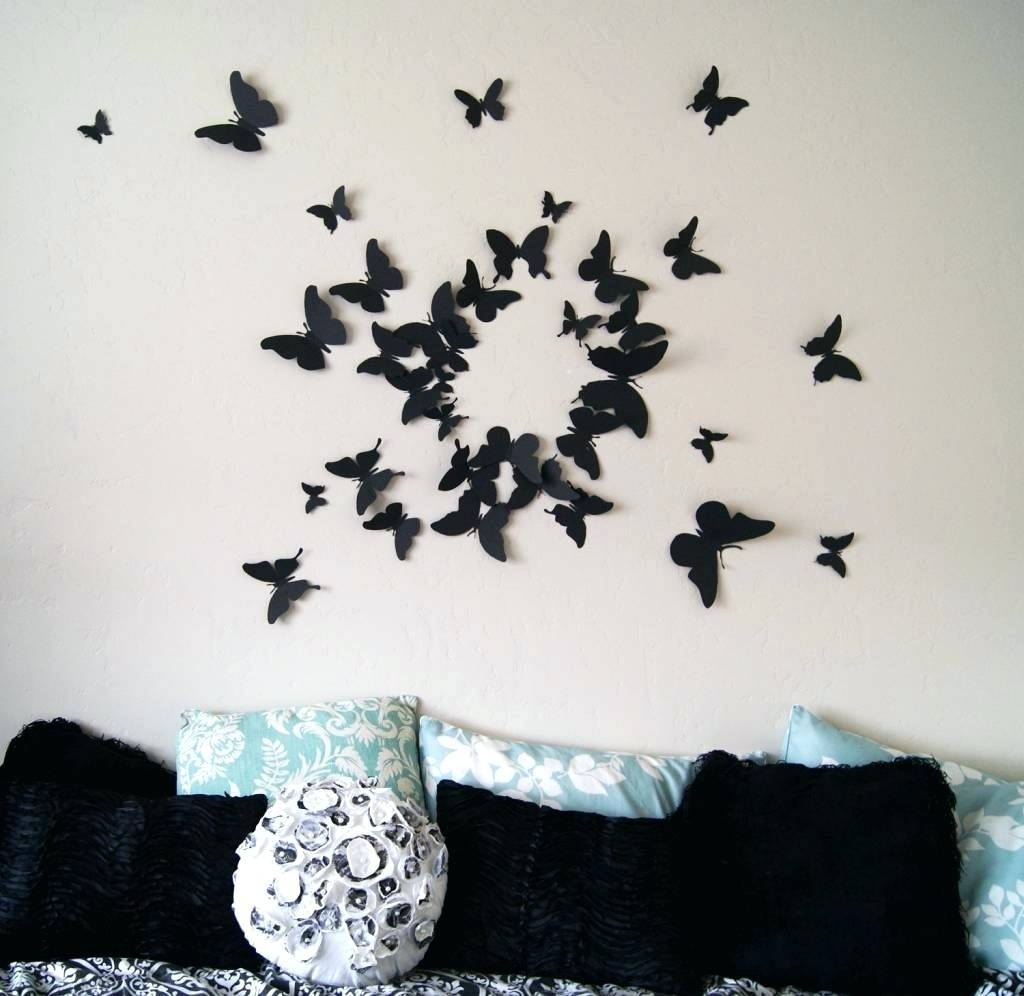 3D Butterfly Wall Decal Butterfly Wall Art Sticker Decorative Wall Pertaining To Most Popular White 3D Butterfly Wall Art (View 6 of 20)