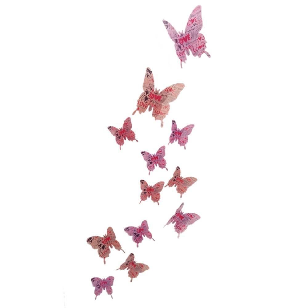 3D Butterfly Wall Sticker Waterproof Removable Butterflies Wall Regarding Most Current Diy 3D Butterfly Wall Art (Gallery 10 of 20)