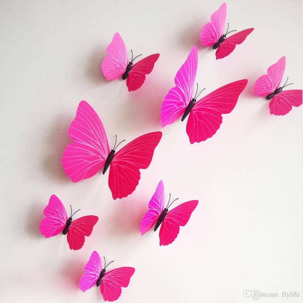 3d Butterfly Wall Stickers Decor Art Decorations Green Yellow Blue With Current 3d Butterfly Wall Art (View 6 of 20)