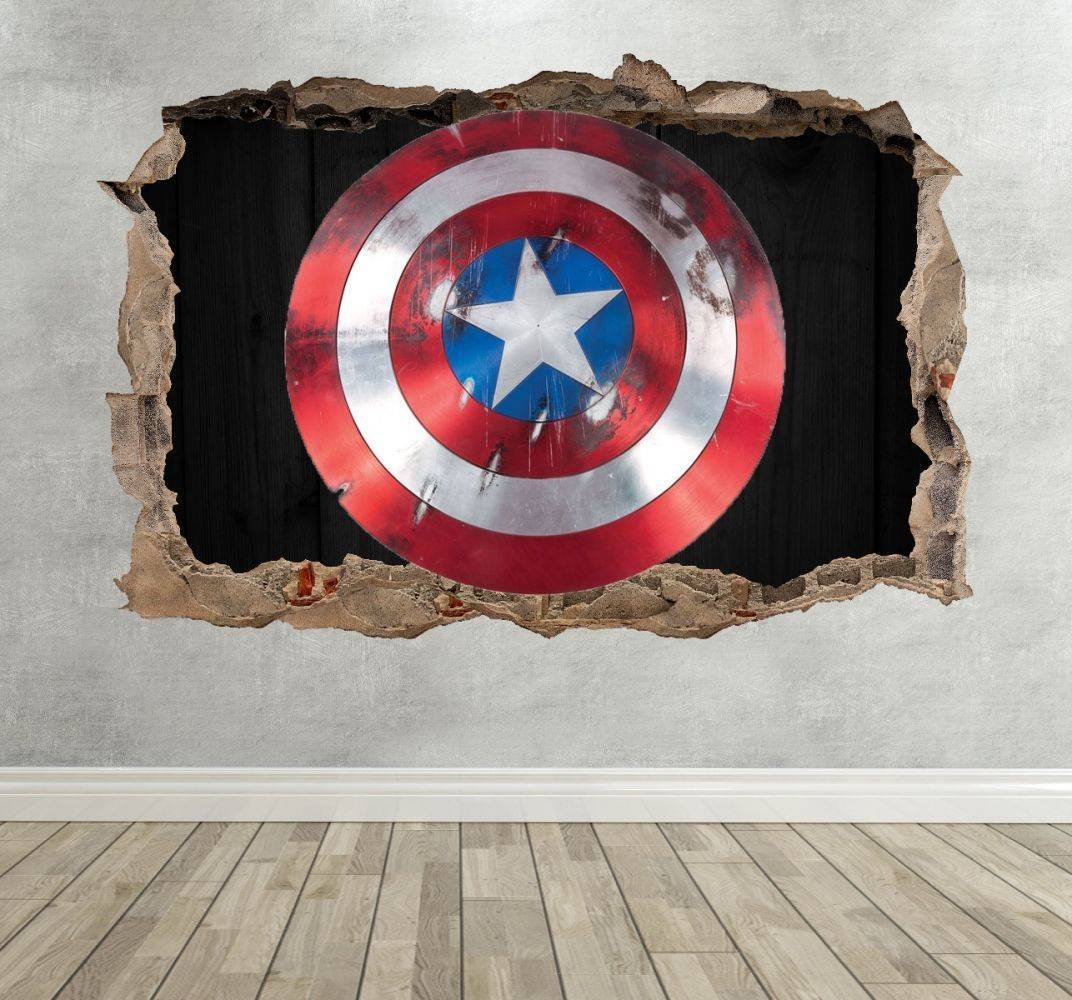 3D Captain America Shield Breakout Wall Sticker With 2018 Captain America 3D Wall Art (Gallery 10 of 20)
