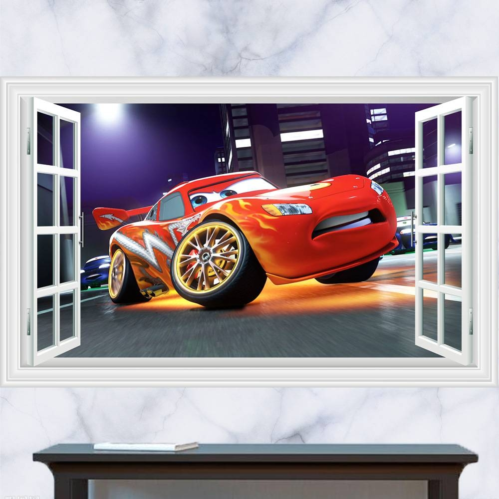3D Cartoon Pixar Cars Art Posters Wall Stickers,pixar Cars Mater Intended For Most Recent Cars 3D Wall Art (View 1 of 20)