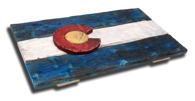 3D Colorado Flag, Distressed Wood, Wooden, Vintage, Art, Denver in Most Popular Vintage 3D Wall Art
