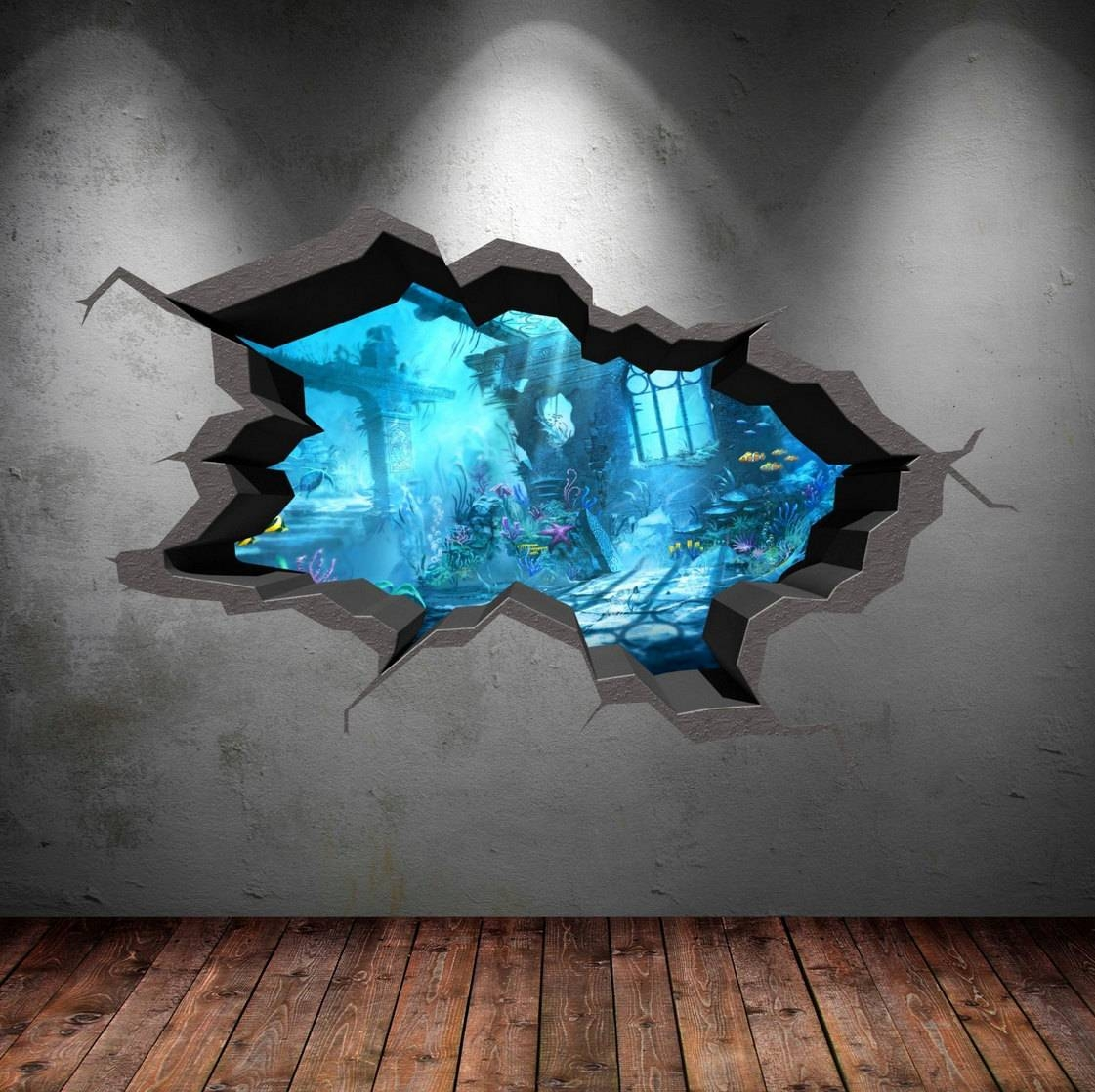 3d Cracked Sea Cave Hole Full Colour Fish Wall Art Sticker Throughout 2017 Fish 3d Wall Art (View 9 of 20)