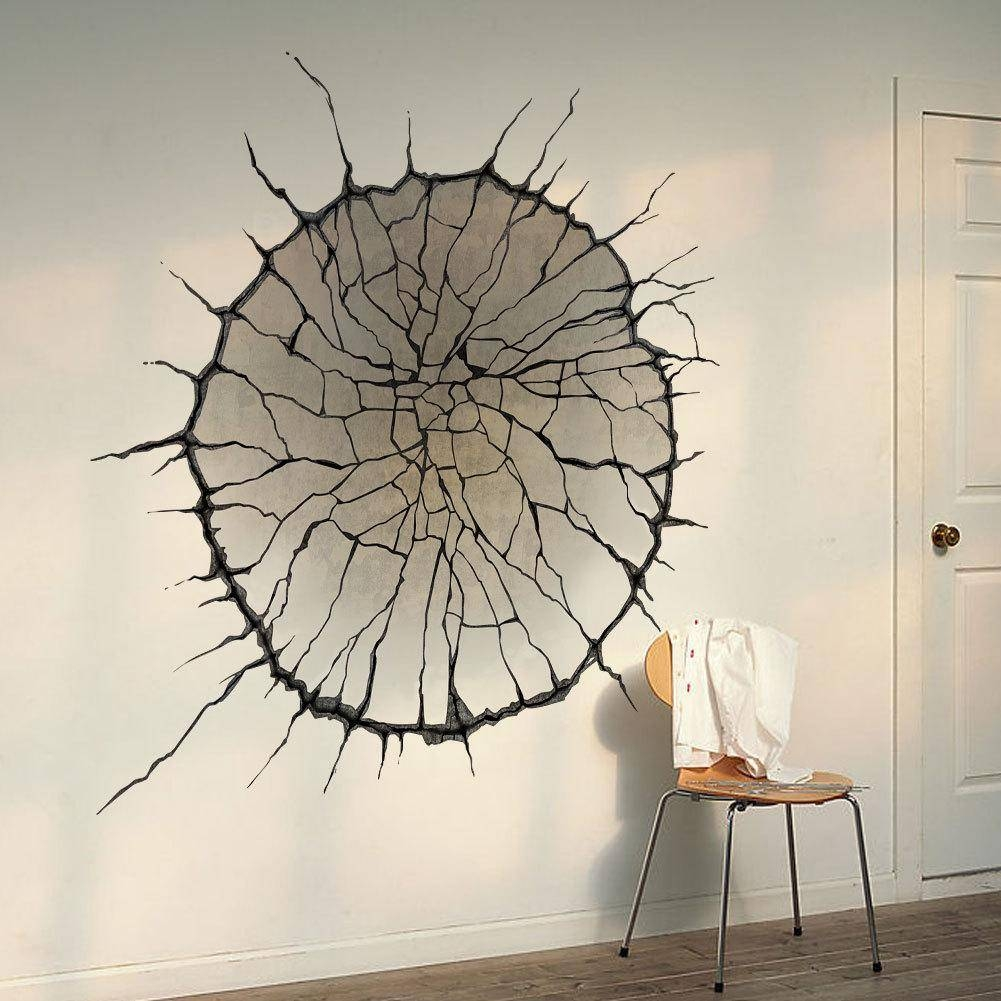 3D Cracked Wall Art Mural Decor Spider Web Wallpaper Decal Poster pertaining to 2018 Decorative 3D Wall Art Stickers