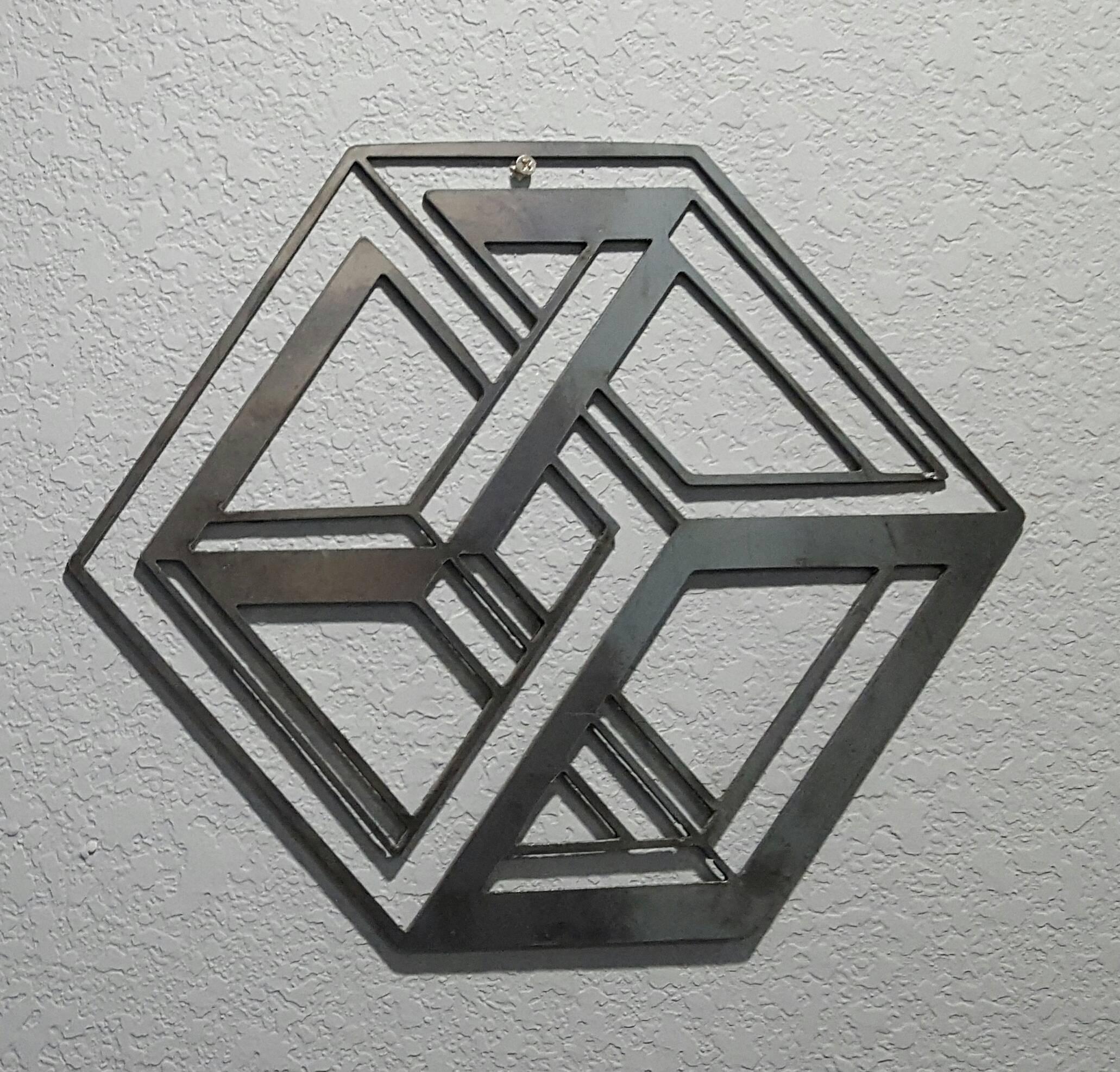 3D Cube Metal Wall Art | Blue Collar Welding Llc Throughout Recent Cubes 3D Wall Art (View 5 of 20)