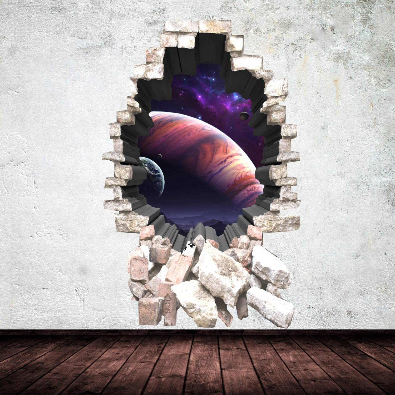 3d Deep Space Planets Wall Art Sticker Boy Decal Mural Graphic Intended For Most Recently Released 3d Brick Wall Art (Gallery 16 of 20)
