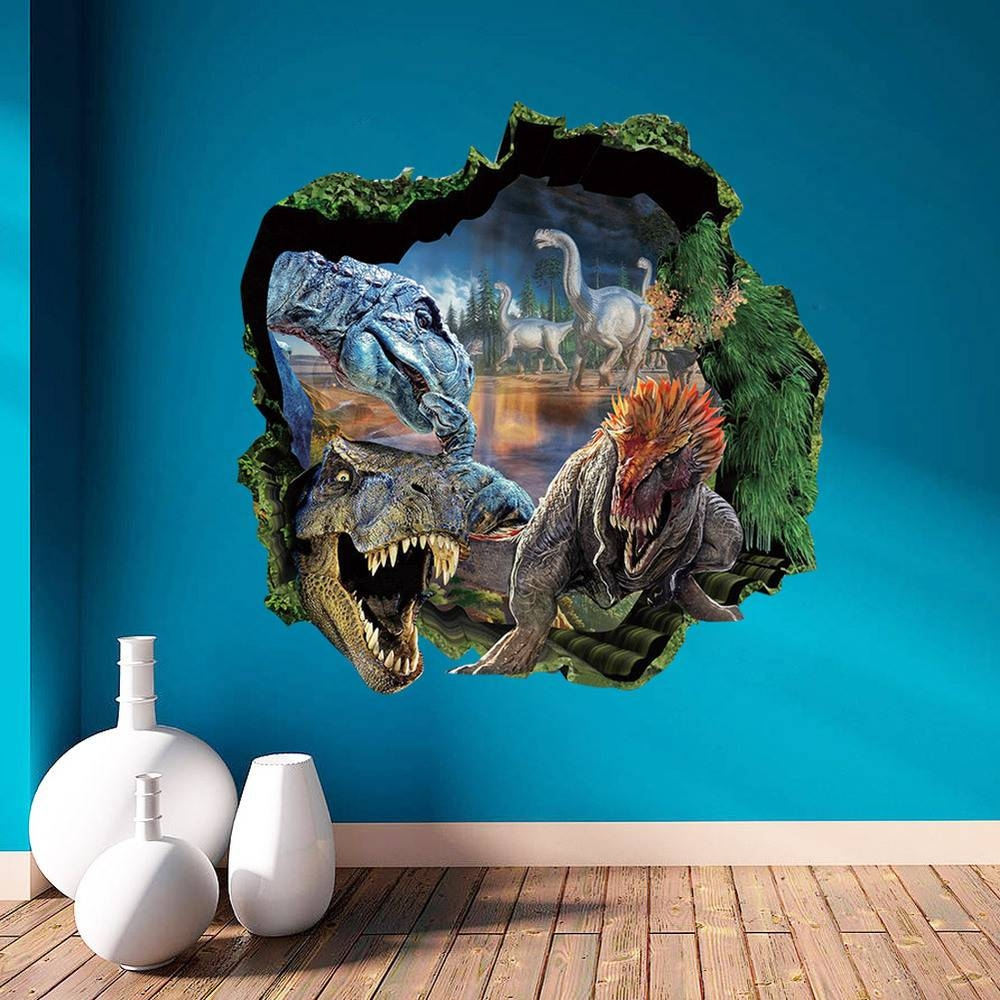 3D Dinosaur Wall Stickers Bedroom Sofa Backdrop Dimensional Wall pertaining to Most Recent Vinyl 3D Wall Art