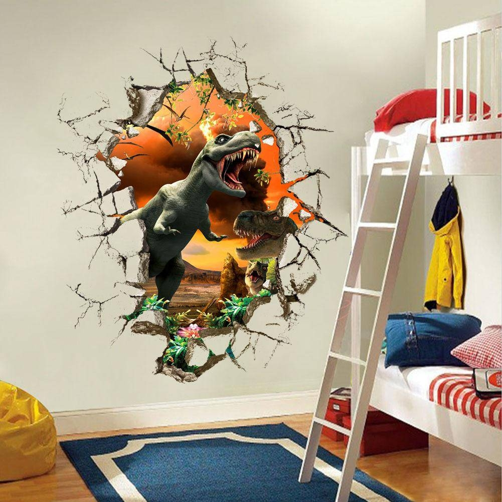 3D Dinosaur Wall Stickers Decals For Kids Rooms Art For Baby Intended For Newest Dinosaur Wall Art For Kids (Gallery 5 of 20)