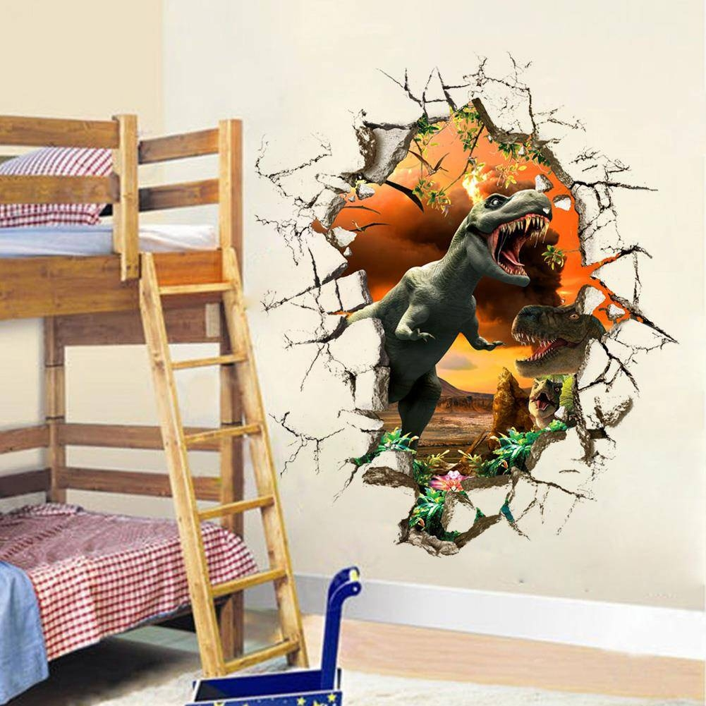 3D Dinosaur Wall Stickers Decals For Kids Rooms Art For Baby Within Most Current Dinosaur Wall Art For Kids (View 5 of 20)