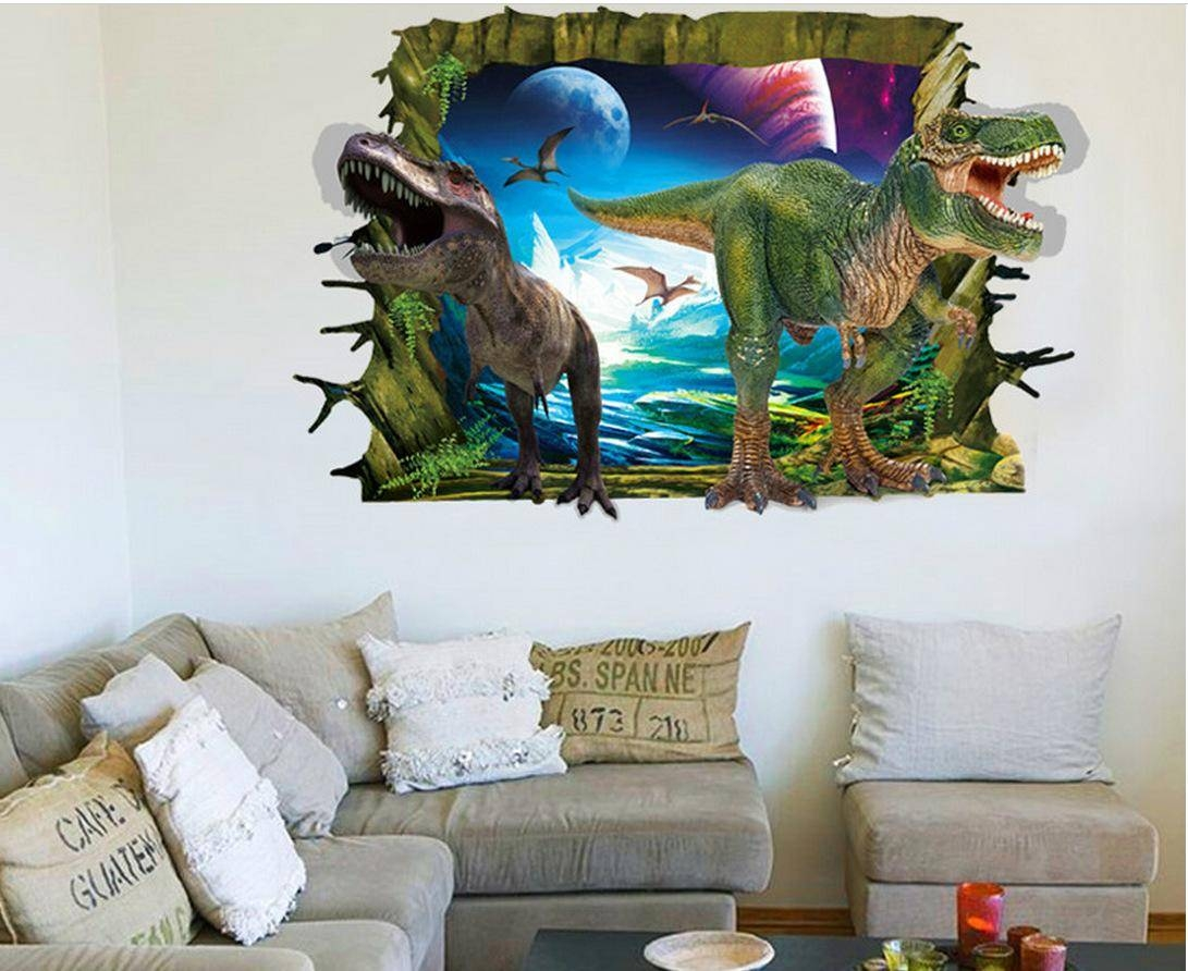 3D Dinosaur World Art Mural Wallpaper Decor Sticker Creative Intended For Recent 3D Dinosaur Wall Art Decor (Gallery 11 of 20)