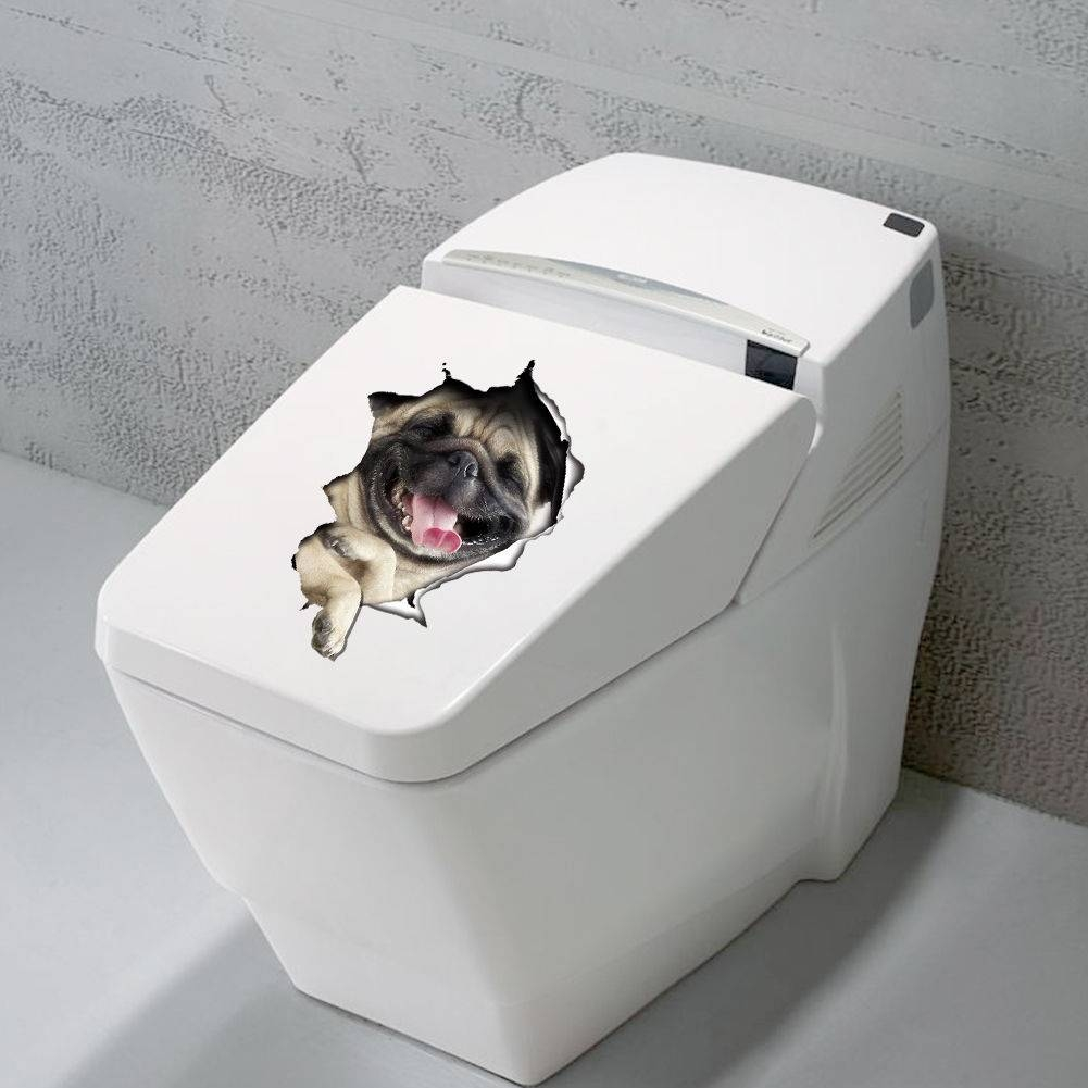 3D Dogs Toilet Seat Decals Wall Sticker Vinyl Mural Art Removable Within Most Current Dogs 3D Wall Art (Gallery 10 of 20)