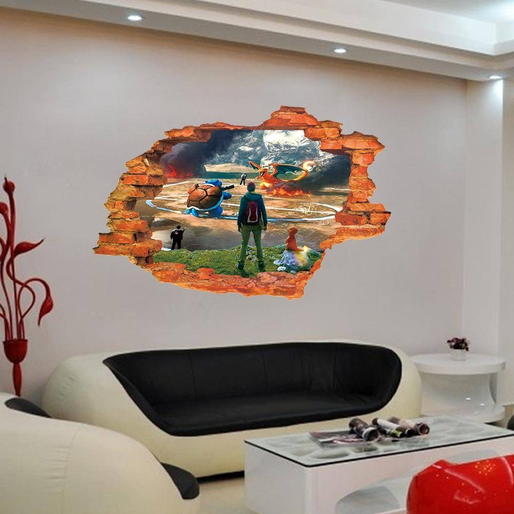 3d Effect Cartoon Pet Elf Wall Stickers Broken Wall Art Mural Wall Regarding Most Recent 3d Effect Wall Art (View 7 of 20)