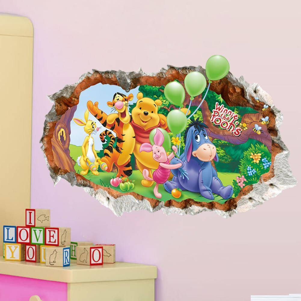 3D Effect Winne The Pooh Wall Stickers Pvc Broken Wall Art Mural Inside Latest 3D Effect Wall Art (View 4 of 20)