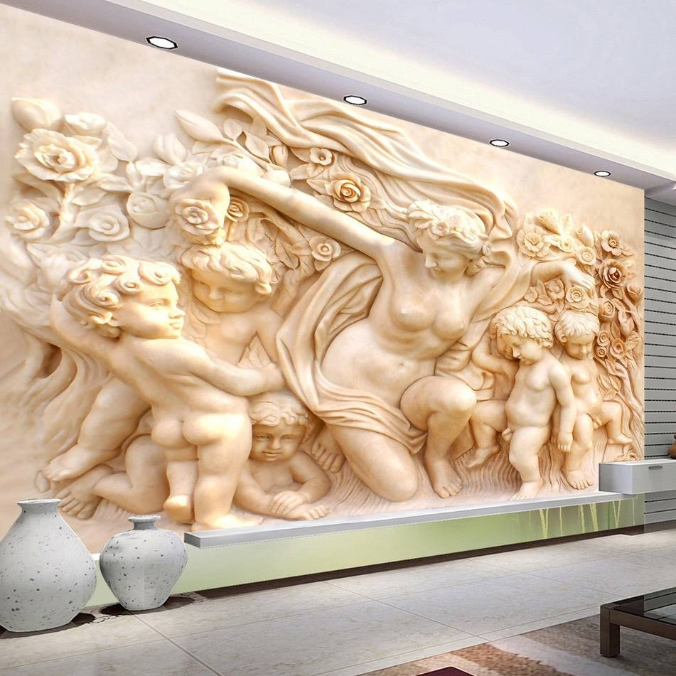 3D European Style Religious Sculpture Wall Mural Custom Photo Within Best And Newest 3D Wall Art Wallpaper (Gallery 12 of 20)