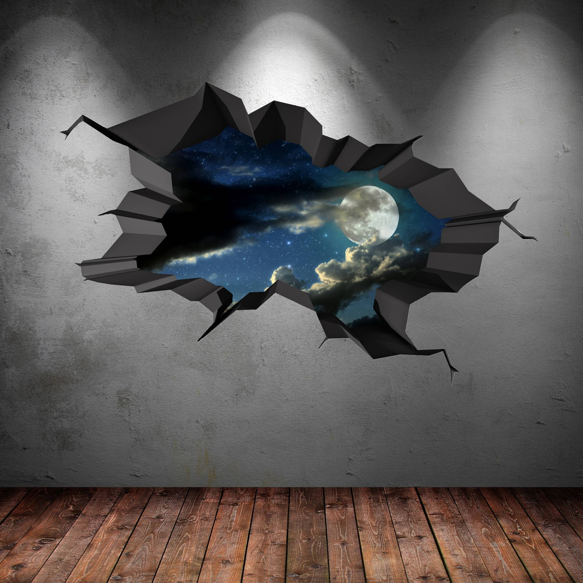 3D Full Colour Moon Space Astronomy Cracked Wall Art Sticker Kids With Regard To Latest 3D Wall Art For Bedrooms (Gallery 11 of 20)