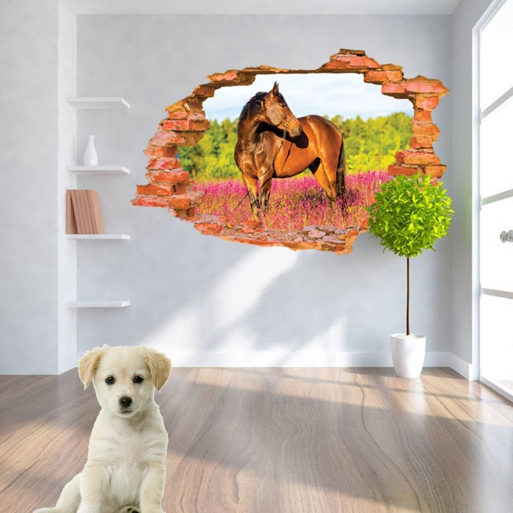 3d Horse Wall Sticker 60*90cm Animal Print Wall Poster Art Decals In Latest 3d Horse Wall Art (View 11 of 20)