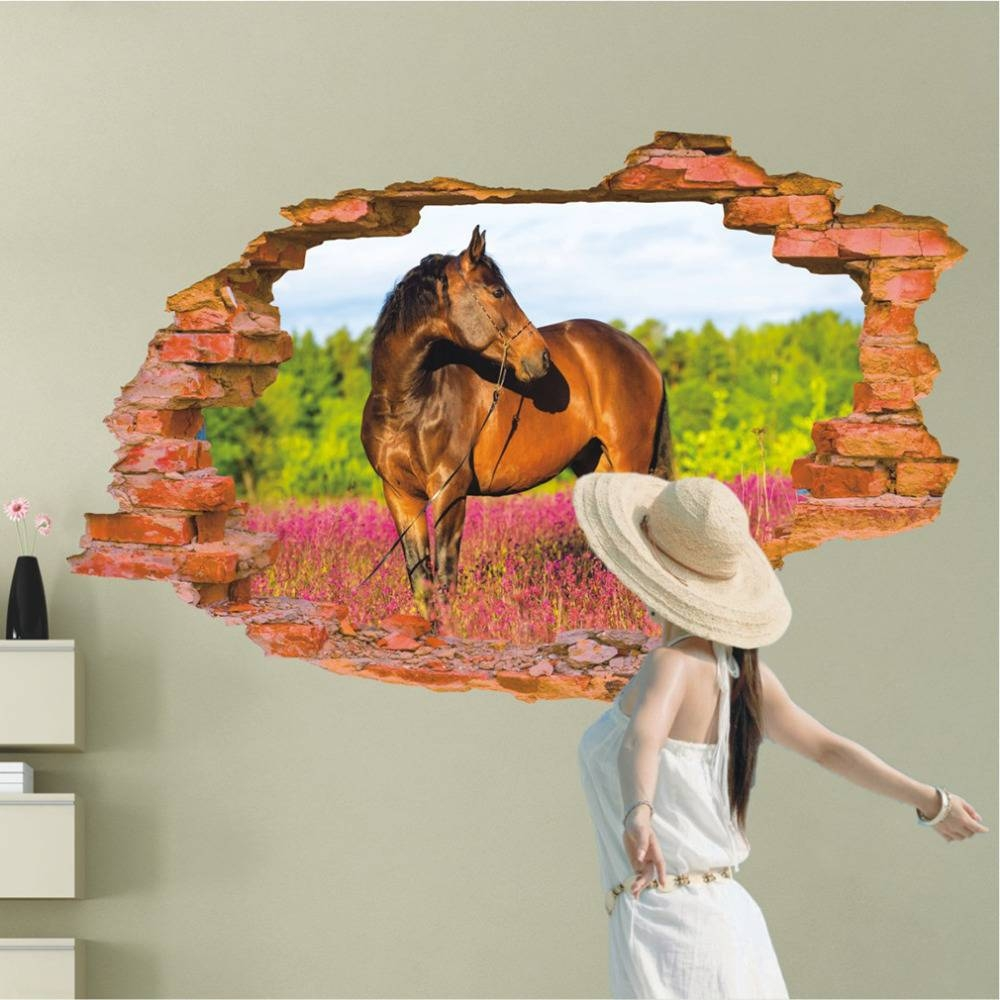 3D Horse Wall Sticker 60*90Cm Animal Print Wall Poster Art Decals With Regard To Current 3D Horse Wall Art (Gallery 3 of 20)