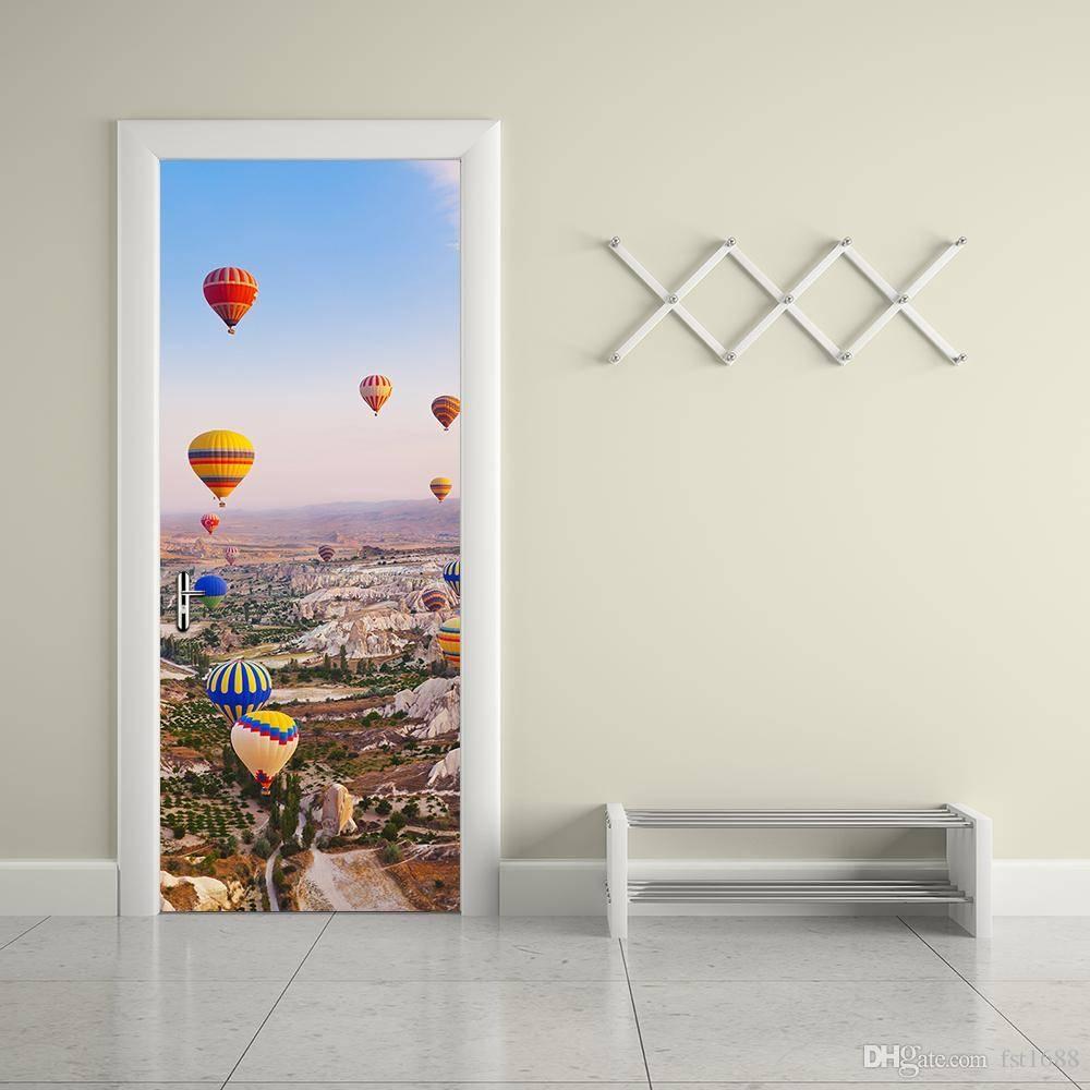 3D Hot Air Balloon Door Sticker Creative Moutain Door Wall with regard to Recent Air Balloon 3D Wall Art