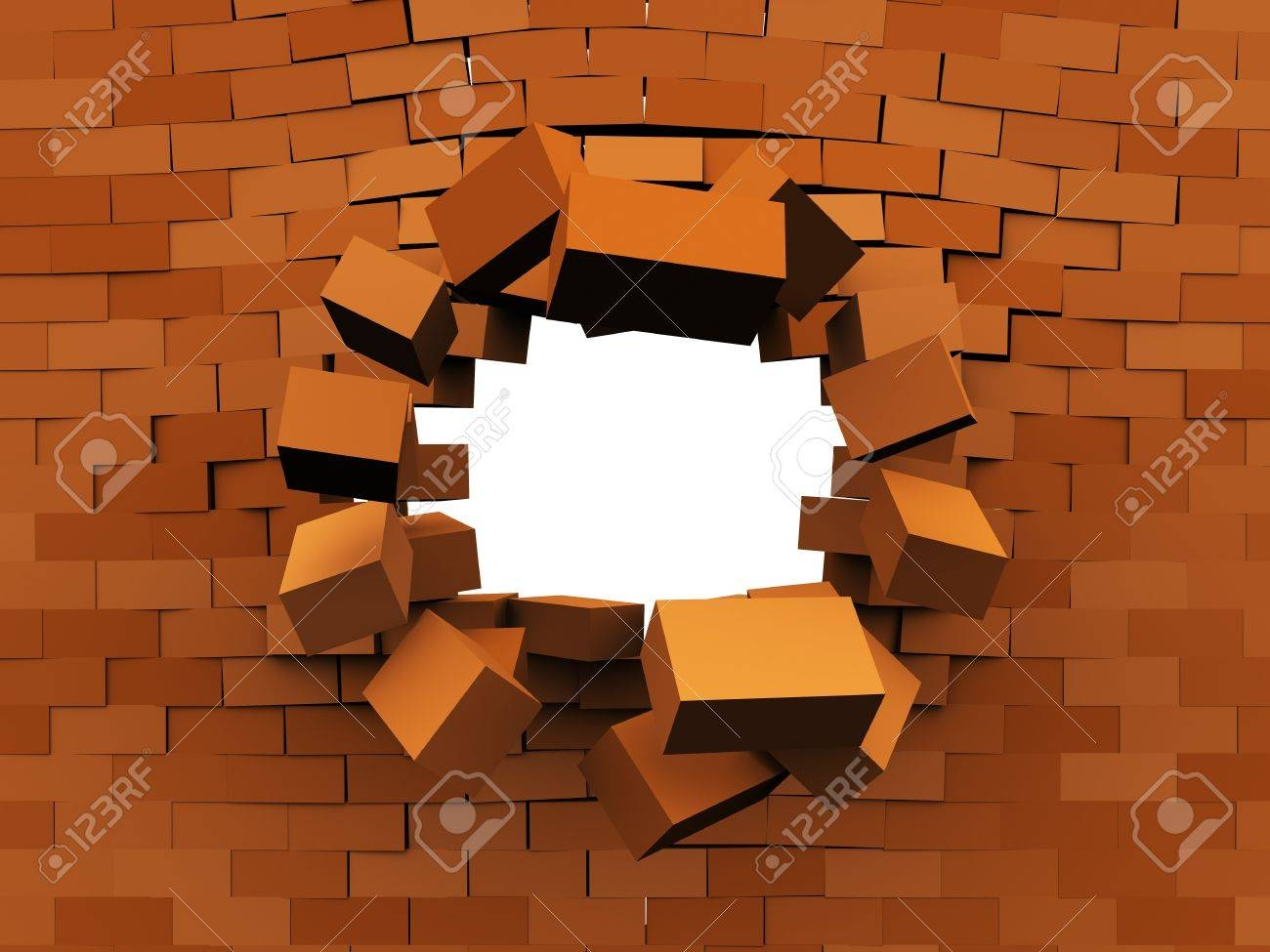 3D Illustration Of Brick Wall Demolition, Over White Background Regarding Most Current 3D Brick Wall Art (View 6 of 20)