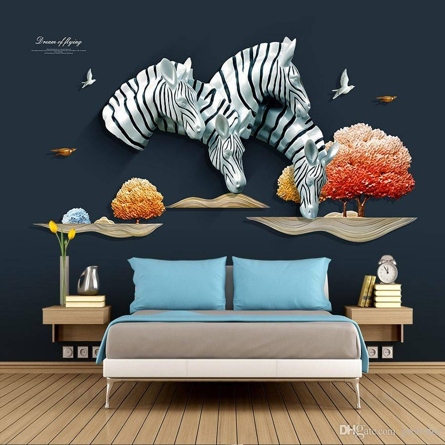 3d Luxury Wallpaper Anaglyph Zebra Wall Mural Custom Wallpaper Throughout Latest Zebra 3d Wall Art (View 7 of 20)