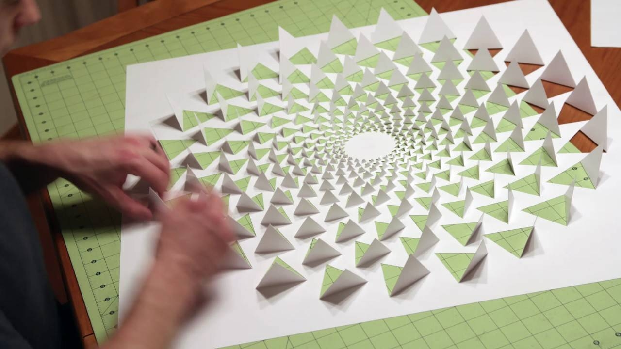3d Optical Illusion Wall Art Made Using One Sheet Of Paper – Youtube Within Current 3d Triangle Wall Art (View 6 of 20)