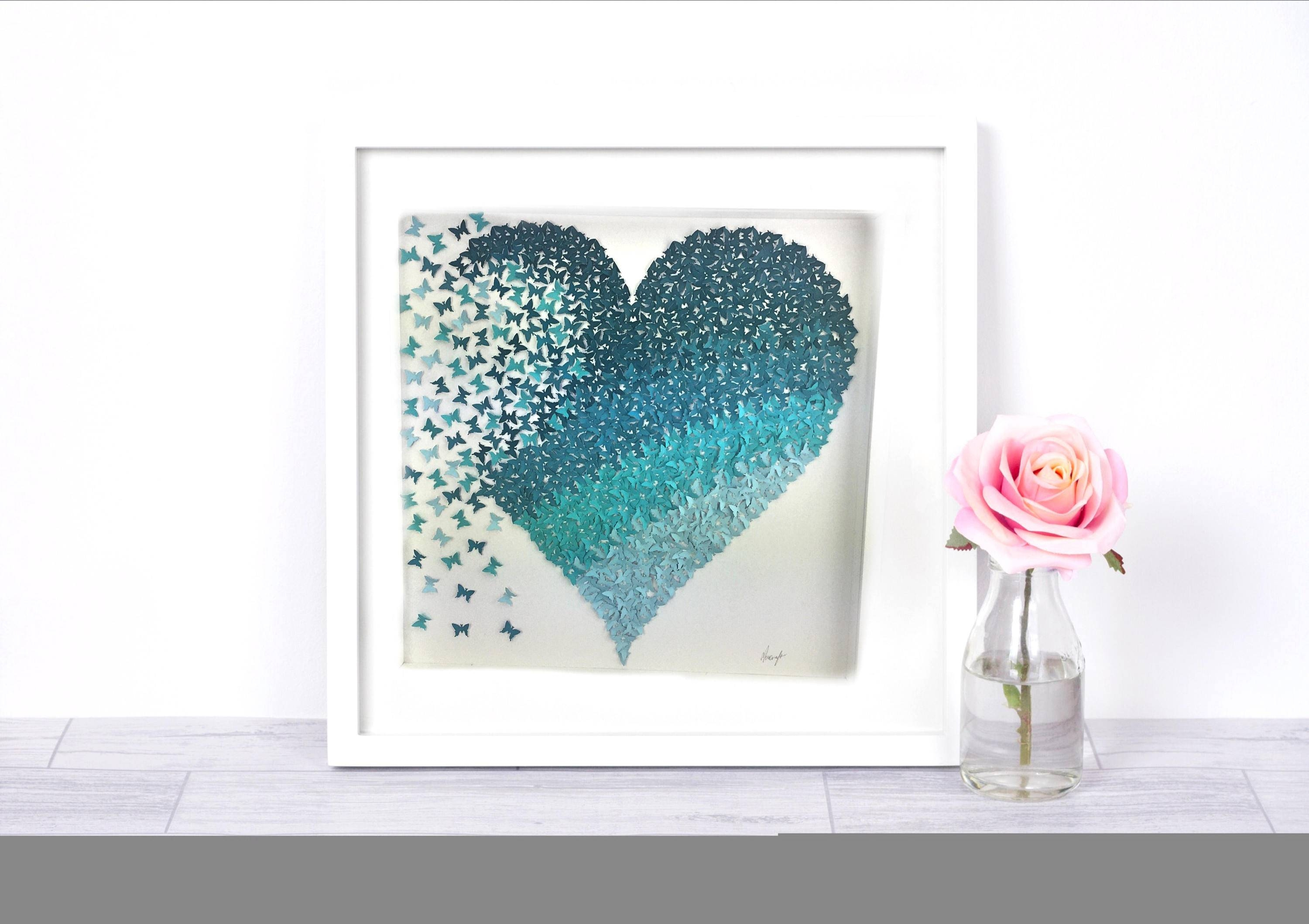 3d Paper Art Butterfly Heart | Shades Of Teal Ombre Butterfly In Most Current Heart 3d Wall Art (View 9 of 20)