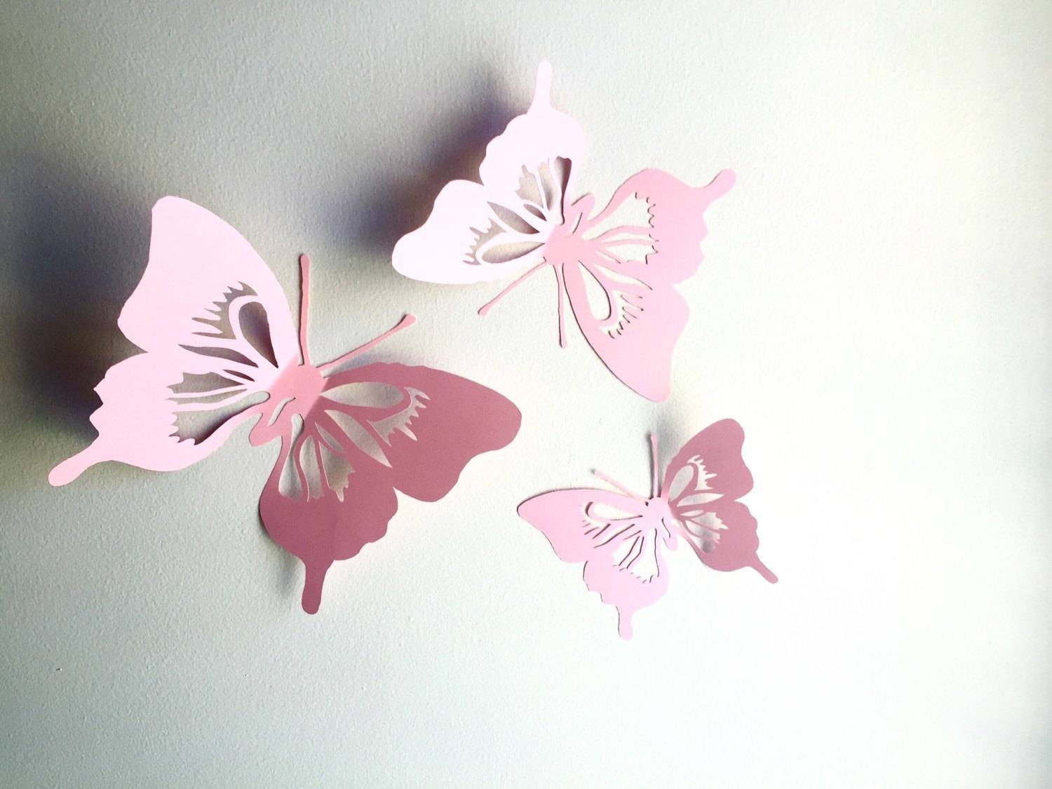 3D Paper Butterfly Wall Art Paper Wall Cut Out Butterfly Inside Recent Pink Butterfly Wall Art (Gallery 7 of 20)