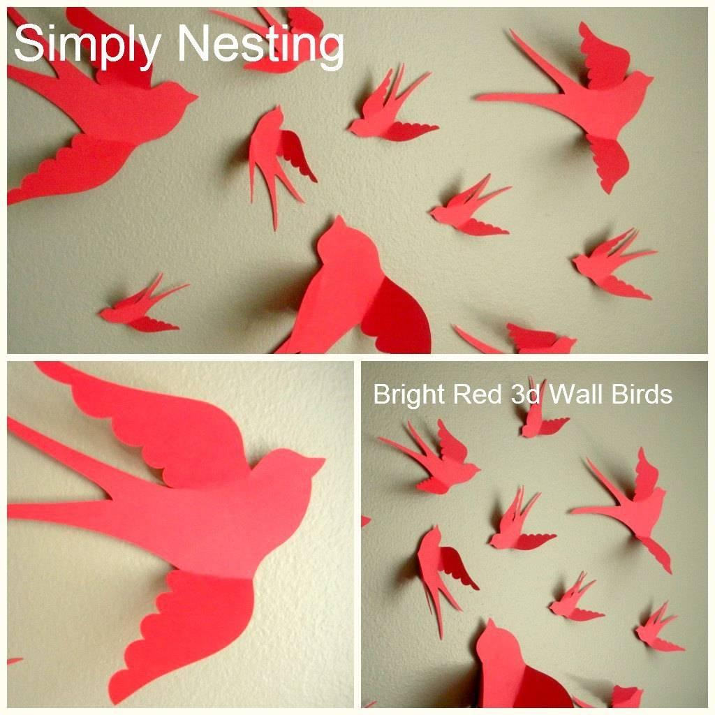 3D Paper Wall Birds 3D Wall Art Nursery Wall Art Whimsical Inside 2018 3D Paper Wall Art (View 7 of 25)