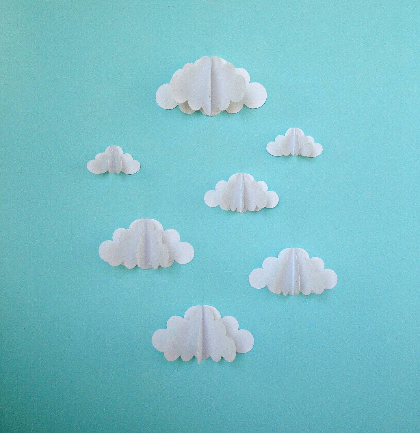 3D Paper Wall Clouds 3D Paper Wall Art/wall Decor/wall For Most Up To Date 3D Paper Wall Art (View 22 of 25)