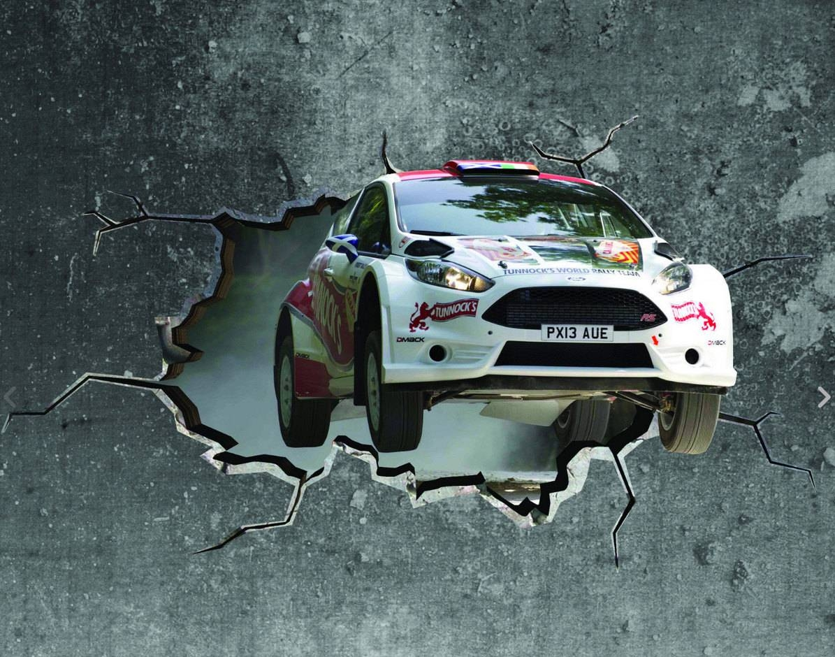 3D Rally Car Cracked Wall Effect Sticker Mural Decal Graphic With Regard To 2017 Cars 3D Wall Art (Gallery 3 of 20)