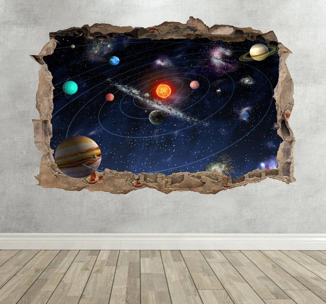 3D Solar System Planets Breakout Sticker In Most Current Solar System Wall Art (Gallery 19 of 25)