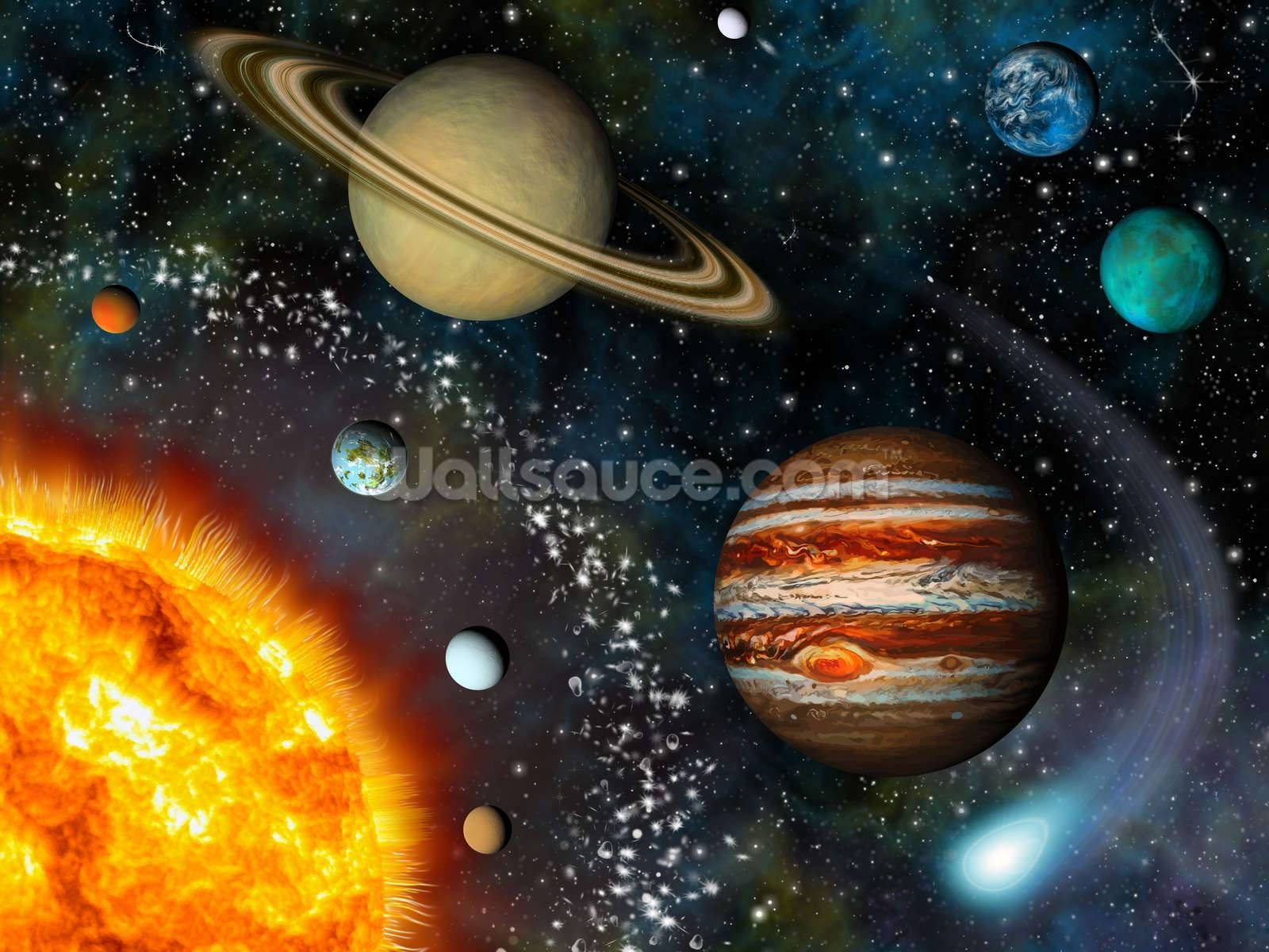 3D Solar System Wallpaper Wall Mural | Wallsauce Usa For Most Current 3D Solar System Wall Art Decor (View 6 of 20)