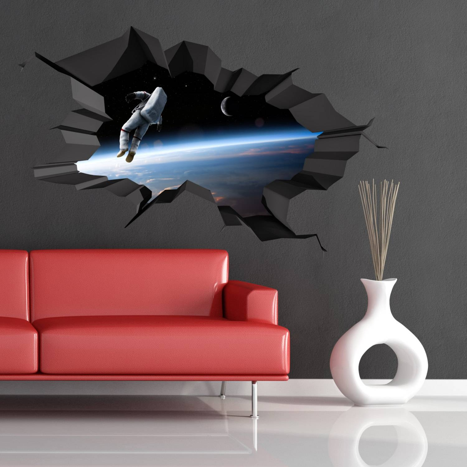 3d Space Cracked Hole Astronaut Space Galaxy Moon Earth Full Regarding Latest Astronaut 3d Wall Art (View 17 of 20)
