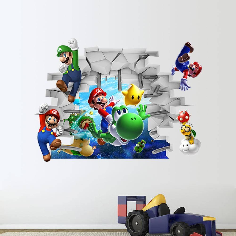 3D Super Mario Wall Stickers Baby Kid Room Wall Decals Removable Within Most Current Baby Nursery 3D Wall Art (View 5 of 20)